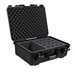 The Gator Cases GM-16-MIC-WP Titan Series wired microphone case for 16 wired microphones will definitely keep your microphones safe from the elements. The Titan series wired microphone case fits 16 handheld microphones and includes a large ac...
