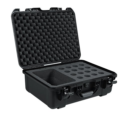 Gator Cases Titan Series Water Proof Injection Molded Microphone Case; Fits up to 16 Wired Mics and Accessories (Microphone Storage)