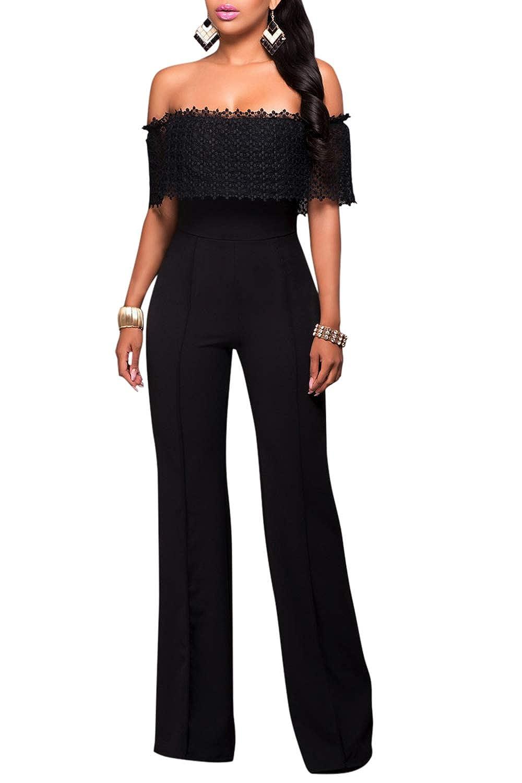 c580396cf4d Amazon.com  Selowin Women Off Shoulder Ruffle Wide Leg Long Pants High  Waist Jumpsuit Playsuit  Clothing