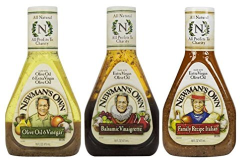 Newman's Own Salad Dressing 3 Flavor Variety Bundle: (1) Newman's Own Olive Oil & Vinegar, (1) Newman's Own Balsamic Vinaigrette, and (1) Newman's Own Family Recipe Italian, 16 Oz. Ea. (3 Bottles Total)