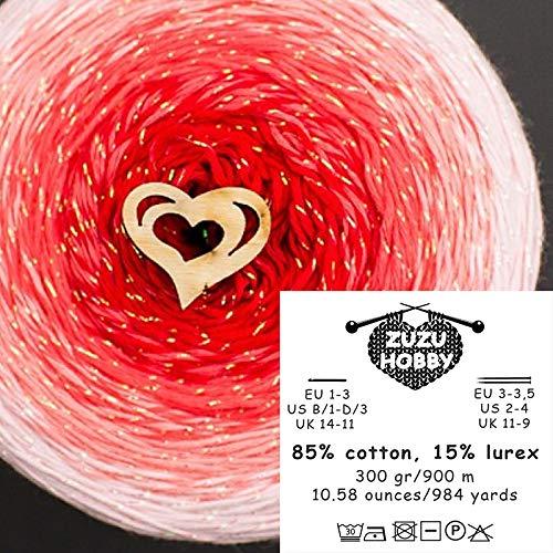 ZuzuHobby Lurex Cotton Gradient Yarn, Multicolor, Wonderful Knitting Roll, Hand Knitting, Crocheting, 10.58 Ounces / 984 Yards (1833)