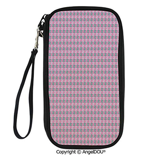 (PUTIEN Polyester Durable Hand holding bag Spring Flower Motifs in White and Green Chain Pattern on Pink Background for shopping men women.)