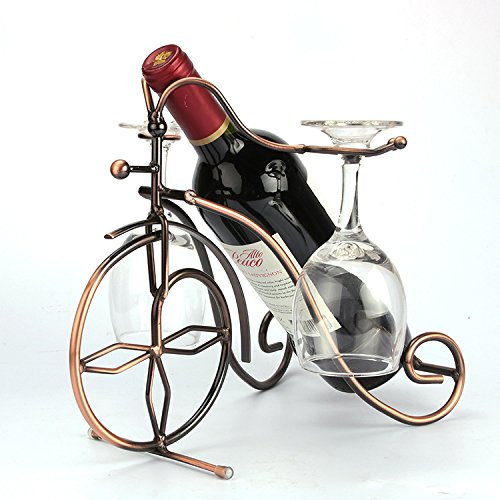 MEOLY Freestanding Bicyle Design Bronze Metal Wine Bottles & 2 Glass Cup Holder Tabletop Wine Rack, Wine Bottles display