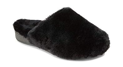4da3e80f055 Vionic Women s Indulge Gemma Plush Slipper - Ladies Adjustable Slipper with Concealed  Orthotic Arch Support Black