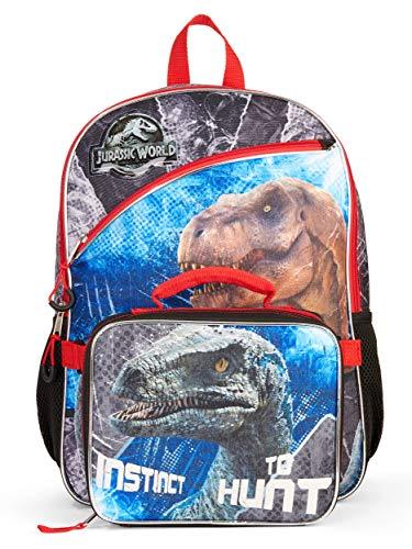 Jurassic World Backpack and Lunch Box Set for Boys Kids (16 Jurassic Park Bag)