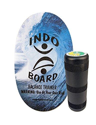 "INDO BOARD Original Balance Board with 6.5"" Roller and 30"" X 18"" Non-Slip Deck – Wave Design"