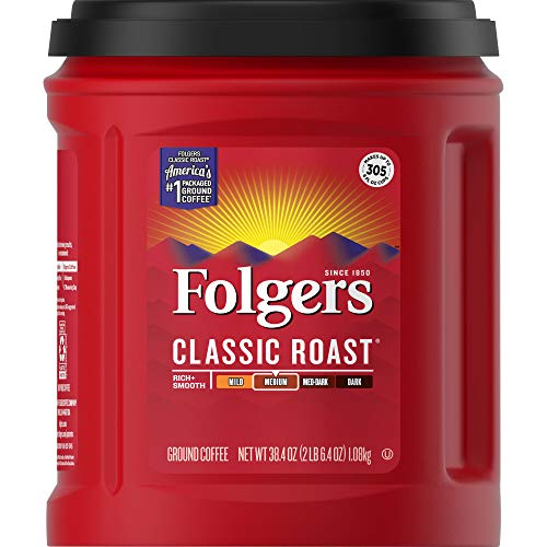 Folgers Classic Roast Coffee, 38.4 Ounce, Packaging May Vary (Best Store Brand Coffee)
