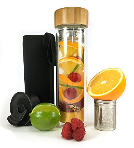 Portable Bamboo Tea Infuser Glass Tumbler and Water Bottle - Unique Sport Top and Innovative Container for Fruit, Blooming and Loose Leaf Tea, Coffee, and Detox Tea - Privo