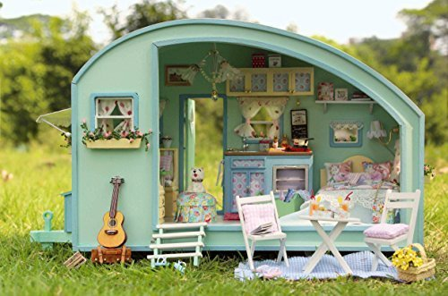 Wooden dollhouse car with furniture vintage toys LED + Music + Voice Control Free Sonny Angel / Mini Angel One Assorted (Vintage House Dolls)