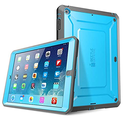 iPad Air Case, SUPCASE Heavy Duty Beetle Defense Series Full-body Rugged Hybrid Protective Case Cover with Built-in Screen Protector for Apple iPad Air (Blue/Black, not fit iPad Air (Ipod 4th Gen Case Blue)