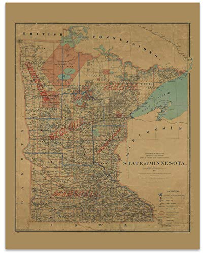 Minnesota Vintage Map Circa 1887-11 x 14 Unframed Print - Great Housewarming Gift. Minnesota Themed Office Decor.