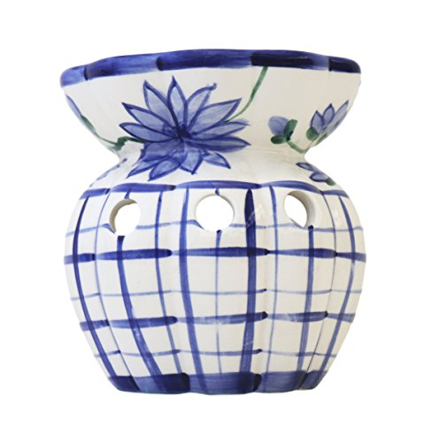 - Tuscany Hand Painted Ceramic Blue Floral Flannel Tart Burner, 84946 by ACK
