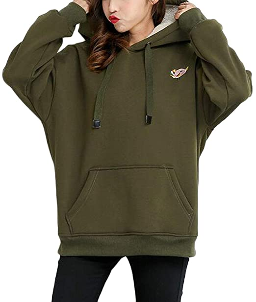 50ff3589 Miaohao Women's Winter Loose Fit Kangaroo Pocket Fleece Lined Drop Shoulder  Sleeve Hoodies Sweatshirts (Color