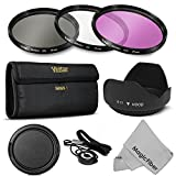 77MM Professional Lens Filter Accessory Kit for CANON 24-105MM, 10-22MM, 17-40MM and NIKON 28-300, 18-300 DSLR Zoom Lenses - Includes Vivitar Filter Kit (UV, CPL, FLD) + Carry Pouch + Tulip Lens Hood + Snap-On Lens Cap w/ Cap Keeper Leash + MagicFiber Microfiber Lens Cleaning Cloth