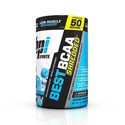 BPI Sports Best BCAA Shredded Caffeine Free Thermogenic Recovery Formula for Lean Muscle Growth, Blue Raz, 50 servings