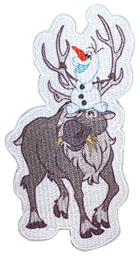 Olaf & Sven Patch Frozen Snowman Reindeer Characters Iron On Applique