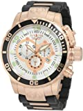Invicta Men's 10620 Corduba Chronograph Silver Dial Black Polyurethane and 18k Rose Gold Plated Watch, Watch Central