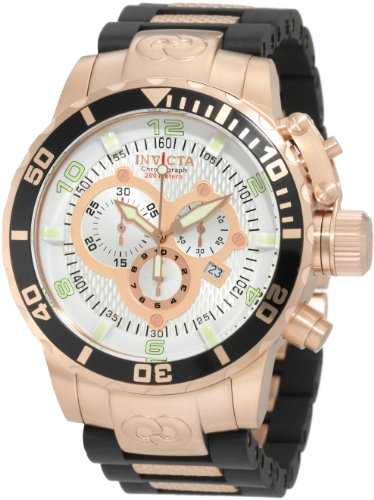 Silver Dial Polyurethane - Invicta Men's 10620 Corduba Chronograph Silver Dial Black Polyurethane and 18k Rose Gold Plated Watch