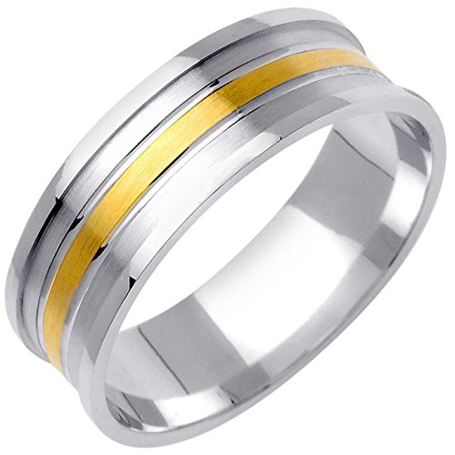 18K Two Tone Gold Wave Men's Wedding Band (7mm) Size-8.5c1 (Gold Two Tone Wave)