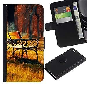 All Phone Most Case / Oferta Especial Cáscara Funda de cuero Monedero Cubierta de proteccion Caso / Wallet Case for Apple Iphone 5 / 5S // Autumn Trees Park Painting
