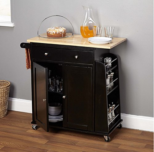Portable Kitchen Cart. Black and Natural Hardwood Cutting Board Work Surface Top, Towel Rack and Spice Shelf, Two Door Cabinet