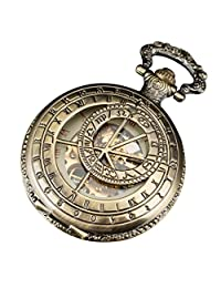 PACIFISTOR Men's Retro Ancient Cppper Mechanical Hand Wind up Skeleton Half Hunter Pocket Watch Fob Chain
