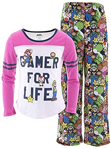 Super Mario Girl's Size 14-16 Gamer for Life Polyester Pajama Set