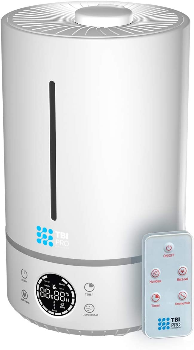 Upgraded 2020 Top-Fill 6L Cool Mist Large Humidifier for Home - 360° Humidifiers for Large Room, Bedroom, Basement - Easy to Clean & Fill - Auto Off, For Whole Home, Quiet for Babies, Kids (White)