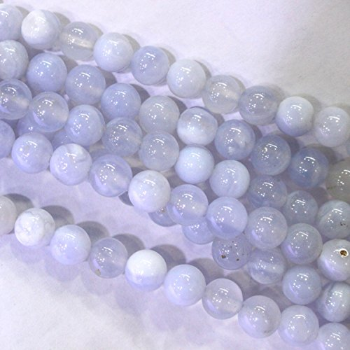 Natural Genuine Blue Chalcedony Round Gemstone Jewelry Making Loose Beads (6mm)