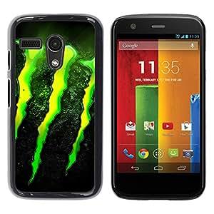ROKK CASES / Motorola Moto G 1 1ST Gen I X1032 / MONSTER / Delgado Negro Plástico caso cubierta Shell Armor Funda Case Cover