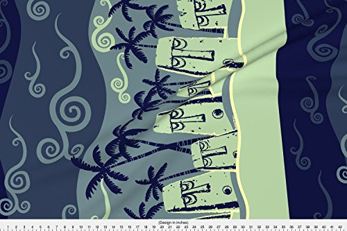 Spoonflower Tiki Fabric Beached Idols By Moonlight by Vantiki Printed on Basic Cotton Ultra Fabric by the Yard -