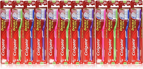 Colgate Toothbrush Double Action, Medium (Pack of 12) - Action Toothbrush
