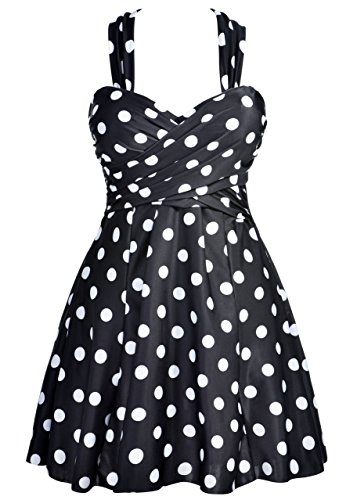 COCOPEAR Women Elegant Crossover One Piece Swimdress Floral Skirted Swimsuit(FBA),Polka Dot Black,3XL/16-18