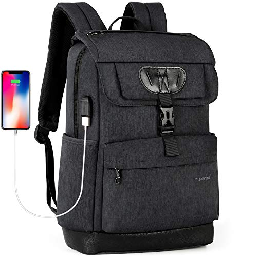 Tigernu College Laptop Backpack School Bookbag with USB Charging Port for Women Men Water Resistant Travel Computer Bag Fits 15.6 inch Laptop/MacBook - Black