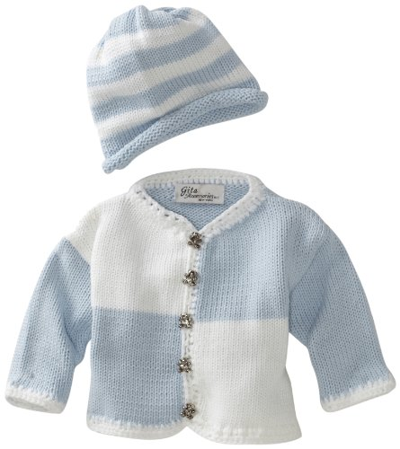 Gita Accessories Baby-Boys Newborn Hand Loomed Sweater And Hat Set