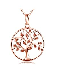 YL Life Tree Pendant for Women Sterling Silver Emerald Necklace Gemstone Rose Jewelry