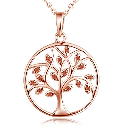 YL Tree Necklace Sterling Silver Created Garnet Circle Pendant 14K Rose Gold Plated Tree of Life Jewelry