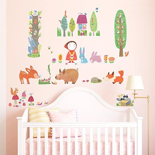 Decowall DW-1601 Red Riding Hood in Woodland Peel and Stick Nursery Kids Wall Decals Stickers