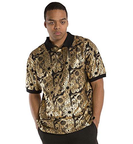 Vibes Gold Label Men Fashion Gold Foil Print Black Polo Pique Shirts Short Sleeve