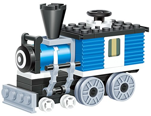Mini Train - 59 pcs building blocks steam single window cabin armoured engine locomotive railway train set that will keep fun traveller excited longer - a gift for 6+ children in Lego compatible parts