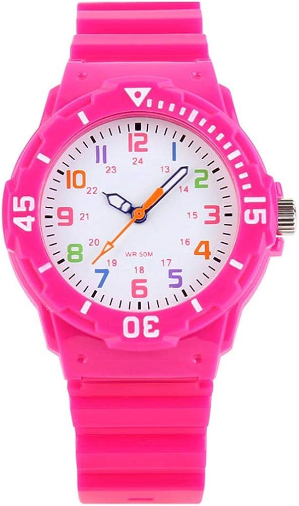 Relojes de Pulsera de Cuarzo analógicos para niños con Resistencia al Agua de 5 ATM, Deportivos y con brújula giratoria para los niños