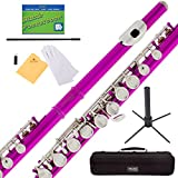 #3: Mendini Fuschia Pink Closed Hole C Flute with Stand, 1 Year Warranty, Case, Cleaning Rod, Cloth, Joint Grease, and Gloves - MFE-FS+SD+PB