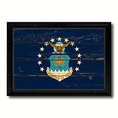 Military FlagVintage Canvas Print with Black Picture Frame Home Decor Wall Art Gifts