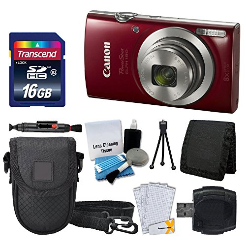 (Canon PowerShot ELPH 180 Digital Camera (Red) + Transcend 16GB Memory Card + Camera Case + USB Card Reader + LCD Screen Protectors + Memory Card Wallet + Cleaning Pen + Ultimate Value Camera Bundle)