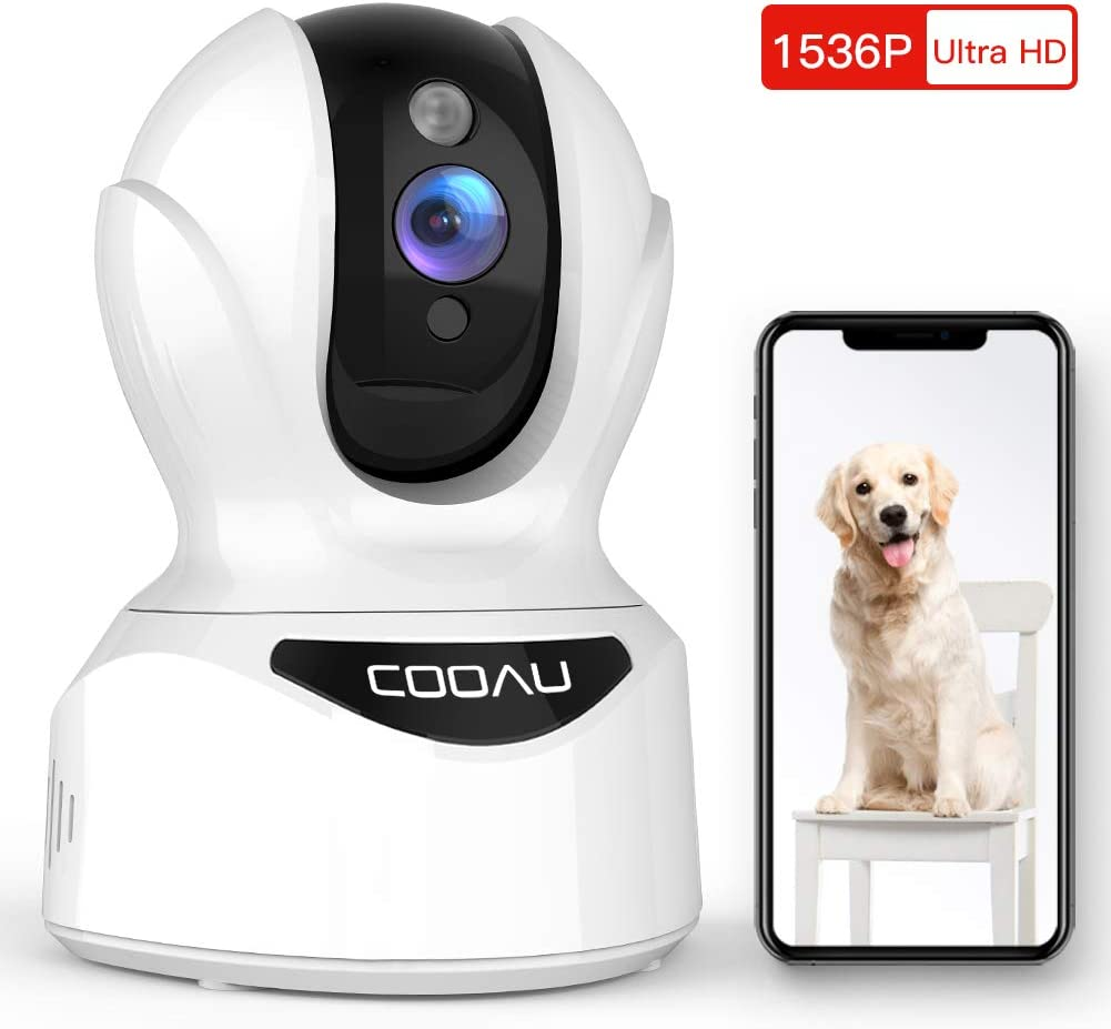 Dog Camera 3MP Pet Wi-Fi Camera, COOAU 1536P Baby Monitor 360 Pan/Tilt/Zoom Indoor Wireless IP Camera with AI Smart Motion/Sound/Face Detection, Night Vision, Two-Way Audio, Work with Alexa (White)