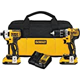 Dewalt 20V MAX XR 2.0Ah Li-Ion Brushless Compact Drill/Driver DCD791 & Impact Driver DCF887 Combo kit (Certified Refurbished)