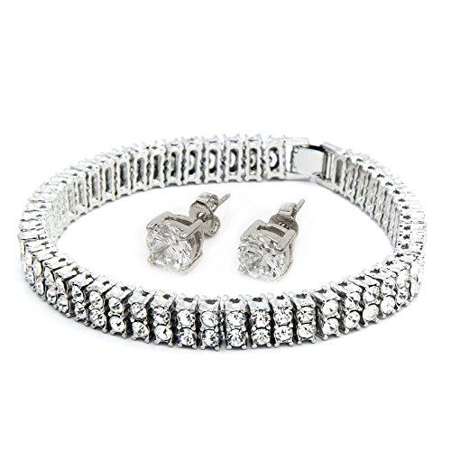 Mens Silver Tone Clear Cz Iced Out 2 Row Hip Hop Bracelet 9