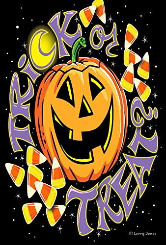 Toland Home Garden Trick or Treat 28 x 40 Inch Decorative Halloween Jack-o-Lantern Candy Corn Double Sided House Flag]()