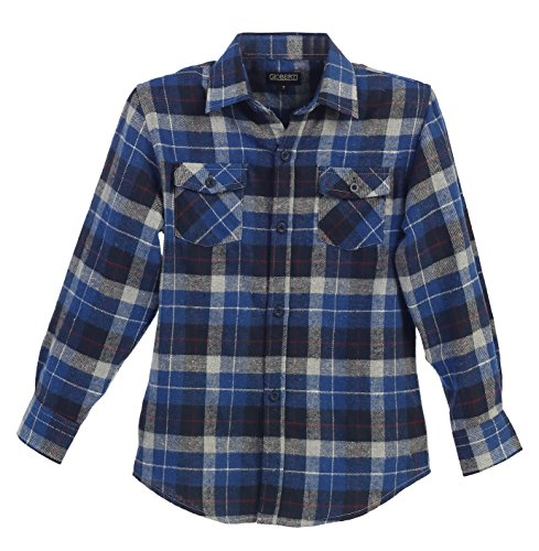 Kids Long Sleeve Flannel (Gioberti Boys Long Sleeve Plaid Checked Flannel Blue/Red Line Shirt, Size 8)
