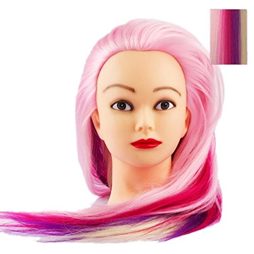 Cosmetology Mannequin Manikin Training Head With Synthetic Colorful Hair Willsa